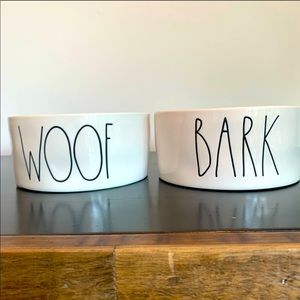 """Rae Dunn WOOF & BARK water and food dishes 6"""""""